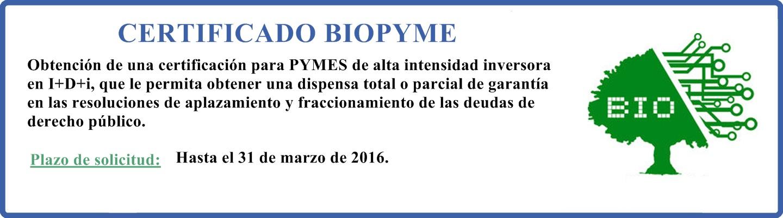 Ayudas Certificado BIOPYME